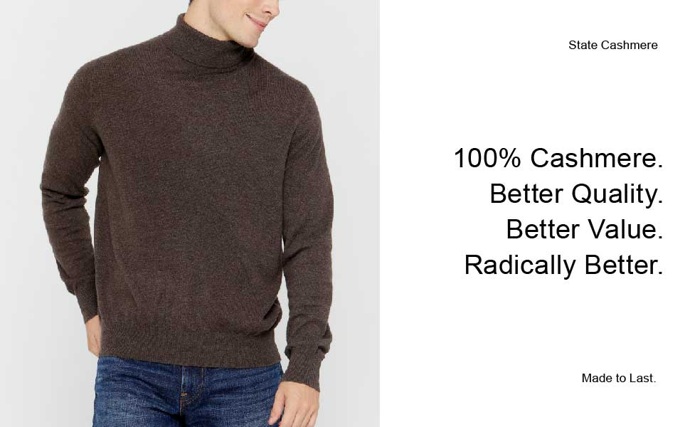 State Cashmere Men's Essential V Neck Sweater 100% Pure Cashmere Classic Long Sleeve Pullover