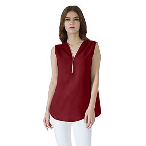 women cute top, wine red blouse for women