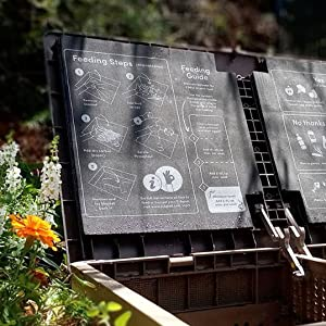 Composting instructions in the lid