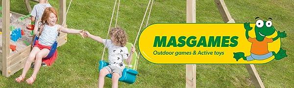 Columpio para niños triple, con dos asientos planos y un asiento cara a cara, marca MASGAMES: Amazon.es: Juguetes y juegos