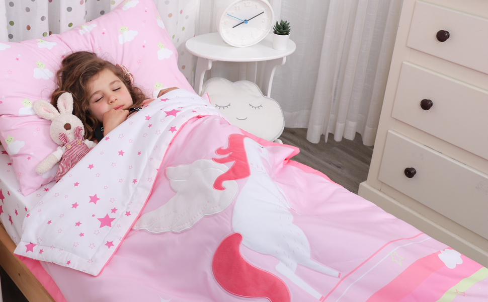 3 Set Lovely Unicorn Print and Pink Minky  Bed Set For Toddler flannel Cotton Blanket fitted Bed Sheet and Pillowcase