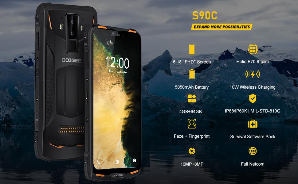 DOOGEE S90C Android 9.0 Movil Resistente 4G, 6,18 Pulgada Helio ...