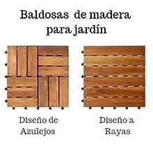 casa pura Baldosas Madera Jardín - Composite Exterior   Ranger   Madera 100% de acacia   Antideslizantes   Resistente a Rayos UV - Set de 11 Piezas (1m²): Amazon.es: Bricolaje y herramientas