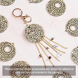 48pc//Set Natural Wood Big Pendants Filigree Dangle Charms w// Earring Hooks Rings