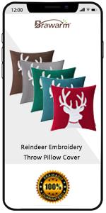 Xmas Reindeer Throw Pillow Covers