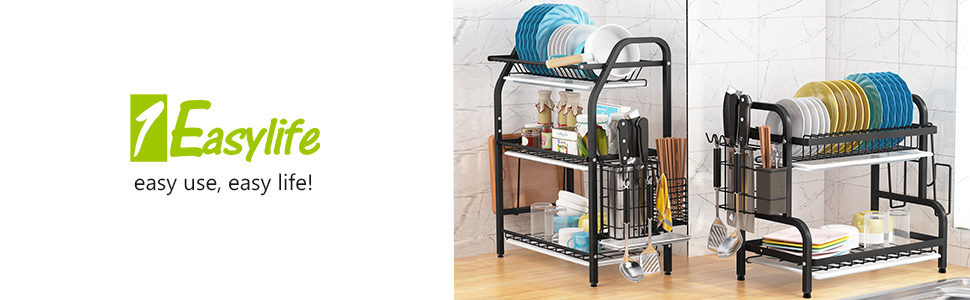 Sweet Home Collection 3 Piece Rack Set Dish Drainer Drain Board and Utensil Holder Easy to Use Black