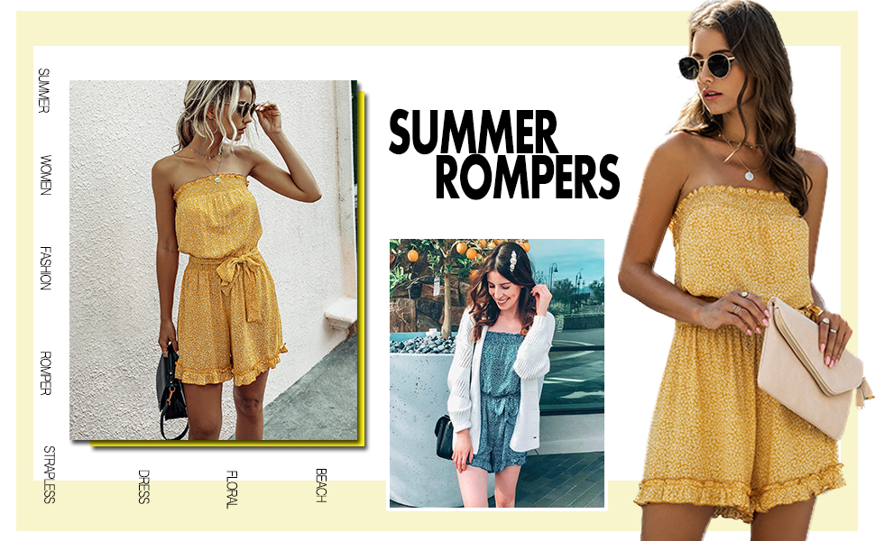 Drawstring Waist Backless Bodycon Shorts Jumpsuits with Pockets VNVNE Womens Tie Dye Off Shoulder Strapless Rompers