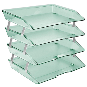 acrimet facility letter tray 4 tier side load clear green color