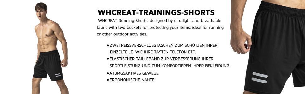 WHCREAT Herren Laufshorts Shorts Kurze Hose mit Rei/ßverschlusstaschen f/ür Sport Gymnastik Training