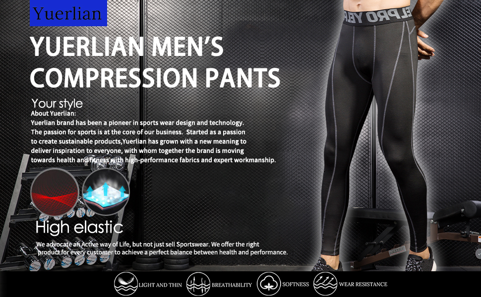 Yuerlian 3 Pack Mens Compression 3//4 Tights Quick Dry Baselayer Workout Running Leggings
