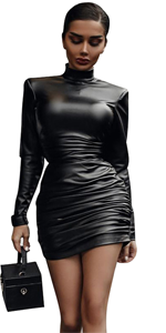 Bodycon Ruched Mini Dress with Shoulder Pads