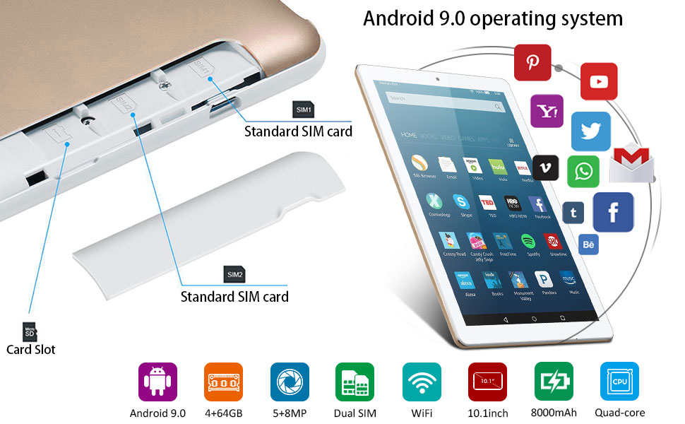 4G Tablet Android 9.0