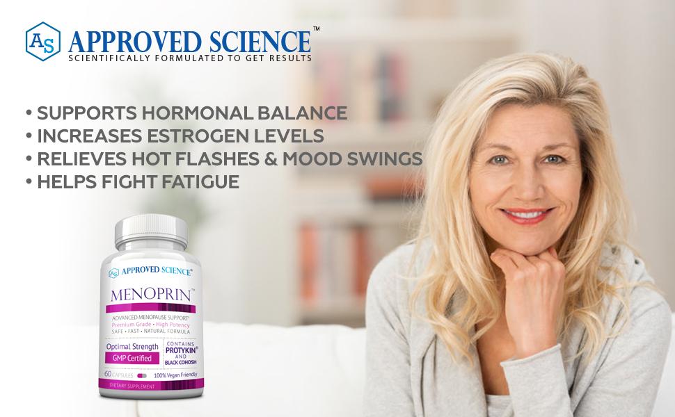Approved Science Menoprin Menopause Women's health Biotin Uritrac Neurexil Thyrenol menopause pills