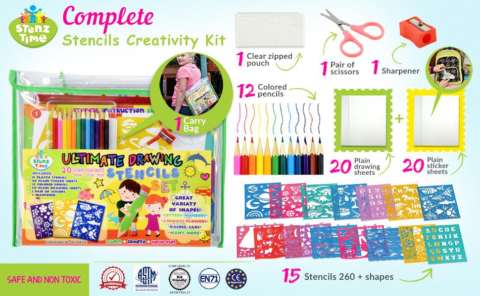 Plastic Stencils Drawing Stencil Set for Kids 74 Shapes 24 Pieces