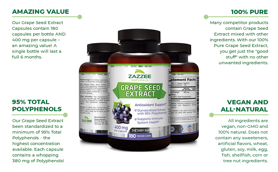 Amazing Value, 100% Pure Grape Seed Extract, 95% Total Polyphenols, Vegan and All-Natural.