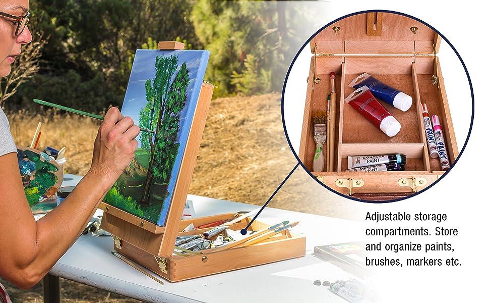 E-508 Antiqua Wood Table Sketch Box Easel