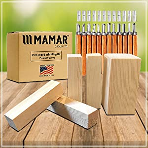 Whittlers Pick Preferred Choice for Adults and Kids MAMAR Pine Wood Carving Whittling Kit Great Learning Set for Beginner or Pro 12 Piece SK10 Carbon Steel Tools and 5 Large Wood Blocks Bundle