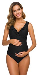 Tempotrek One Piece Maternity Swimsuits Padded Push Up Shirred Swimwear Vintage Beachwear