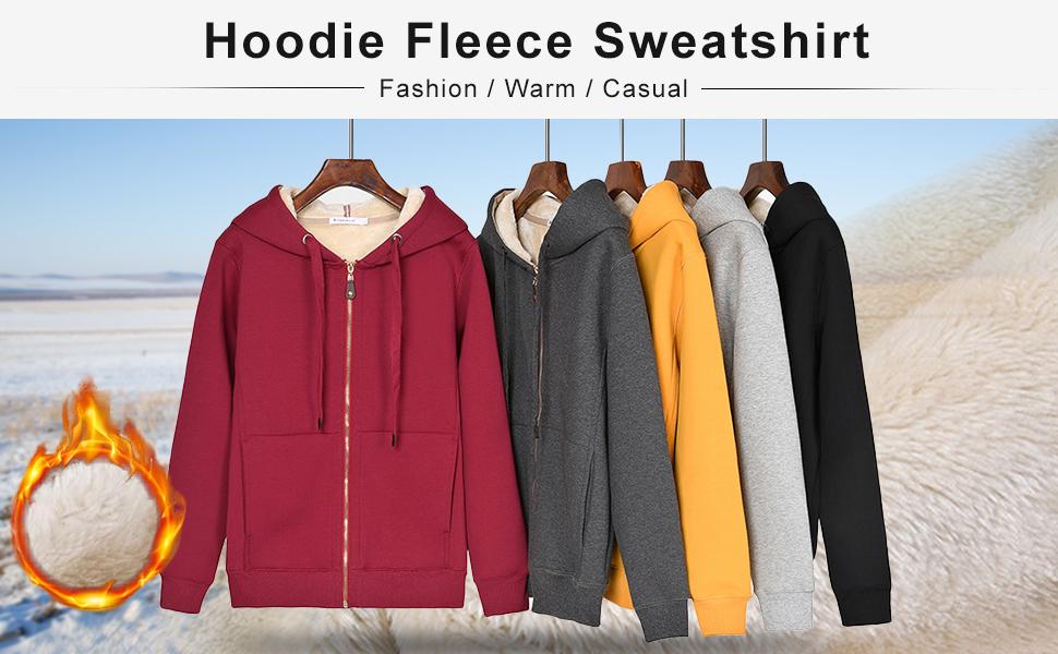 Flygo Women's Winter Warm Sherpa Lined Full Zip Hoodie Sweatshirt