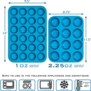 Silicone Muffin Pans Set 12 Cup & 24 Cup Sizes