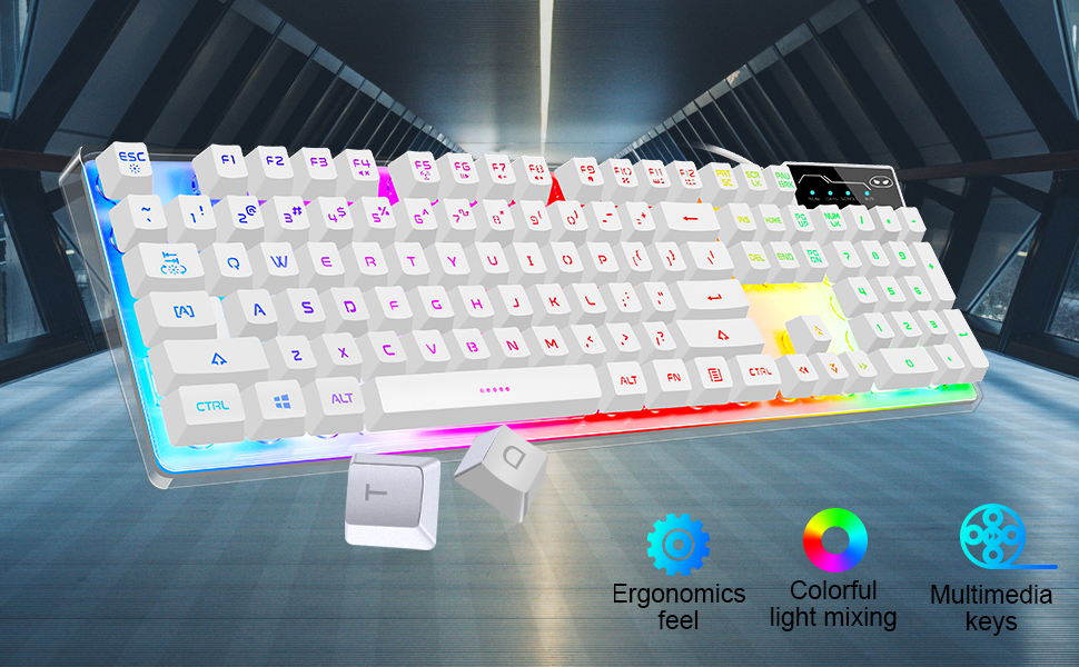 white03  Gaming Keyboard and Mouse Combo, K1 LED Rainbow Backlit Keyboard with 104 Key Computer PC Gaming Keyboard for PC/Laptop(White) bc44db6b 7903 495d 94e8 fbf211ed8fbb