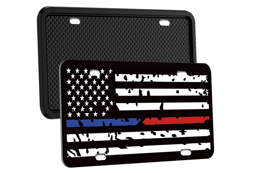 Rattle-Proof Synrroe Silicone License Plate Frame Rust-Proof Weather-Proof - Black