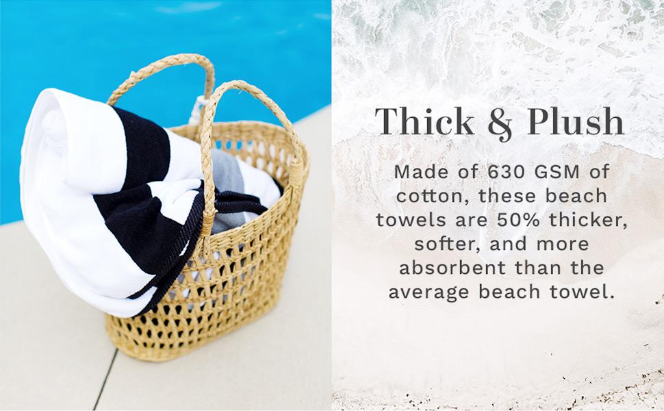 black gray towel beach pool large oversized extra thick premium cabana soft hotel plush stripe