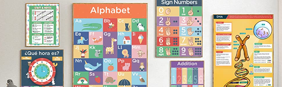 Hubble Bubble Kids educational posters framed on wall