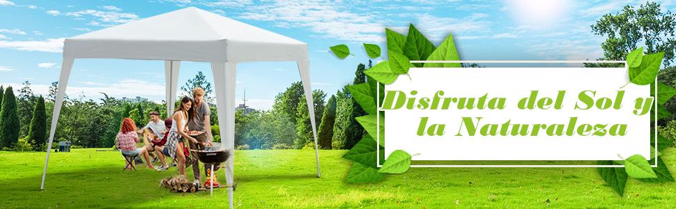 Outsunny Carpa Plegable 3x3m Cenador de Jardín Diseño Pop Up de Acero y Cubierta de Tela Oxford Blanco
