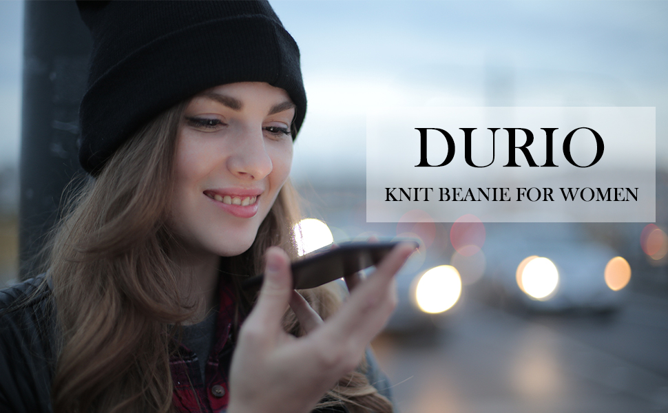 Durio Beanie for Women Knit Double Layer Womens Beanie Soft Warm Winter Beanie Hat