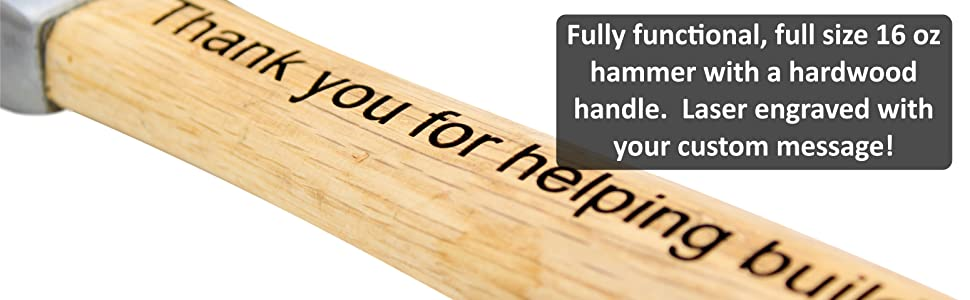 personalized laser engraved hammer gift for dad hardwood wood handled custom construction father