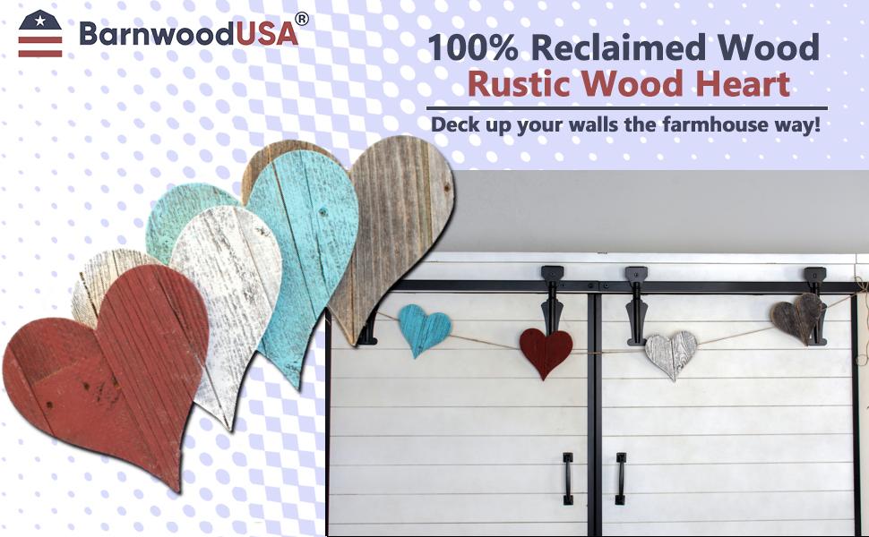 BarnwoodUSA Rustic Wooden Heart Decor