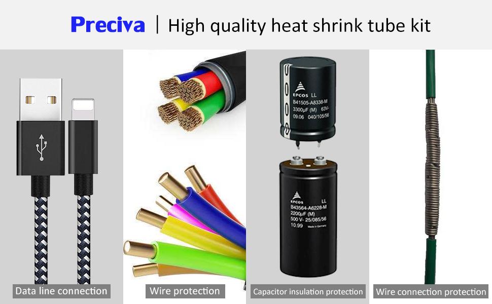 Tubo Termorretráctil 750 Piezas,Preciva 2: 1 Poliolefina Tubo Termoretráctil Envoltura de Alambre 5 Color 12 Tamaño para Protección el cable,Prevenir ...