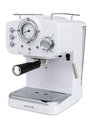 IKOHS THERA Retro - Cafetera Express para Espresso y Cappucino, 1100W, 15 Bares, Vaporizador Orientable, Capacidad 1.25l, Café Molido y Monodosis, con Doble Salida (Blanco): Amazon.es: Hogar