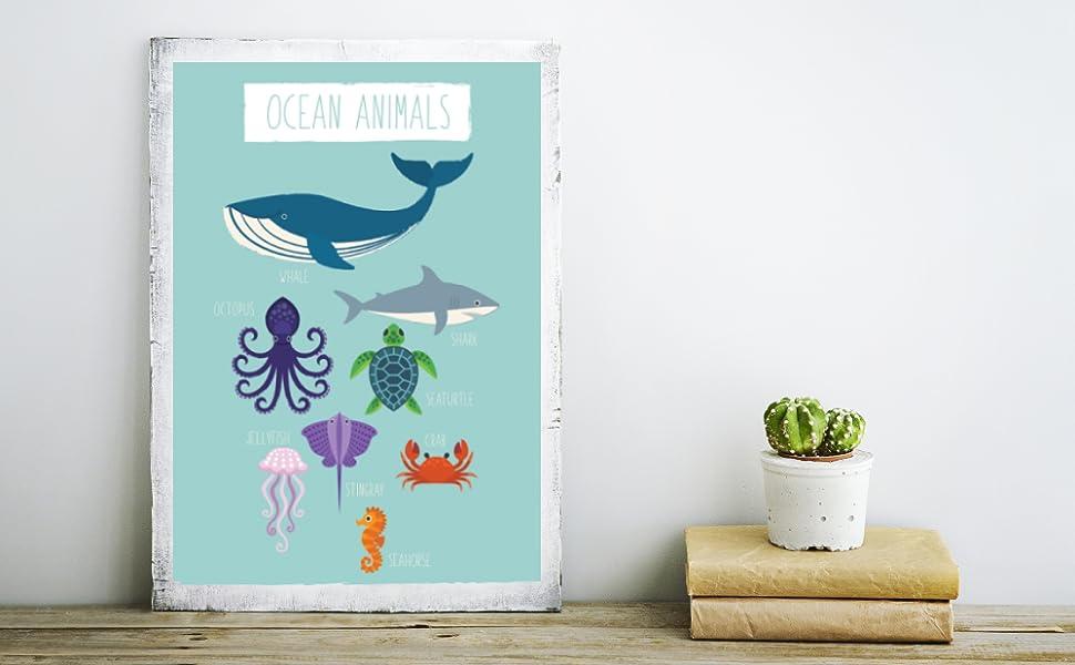 5x7 Whale Nursery Baby SEA ANIMALS Set of 3 Watercolor PRINTABLE Art Nursery Wall Baby Shower Gift Baby Boy Girl Nursery 18x24 11x14 8x10