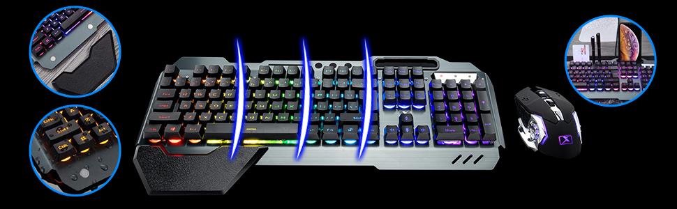 Ergonomic RGB gaming keyboard with palm rest