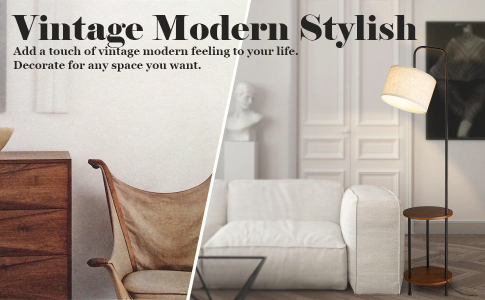ELYONA End Table with Lamp for Living Rooms & Bedroom