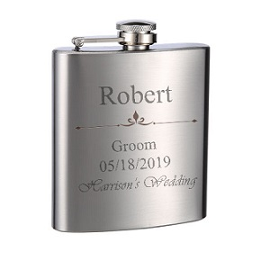 Flask Double Bar Personalized 6 oz