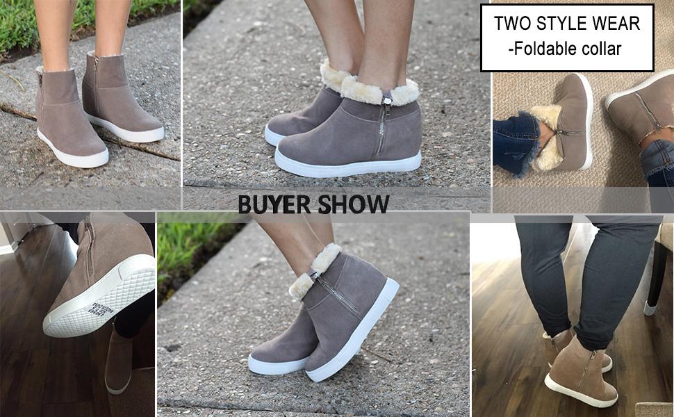 Fur Wedge Sneakers Hidden Wedge Boots