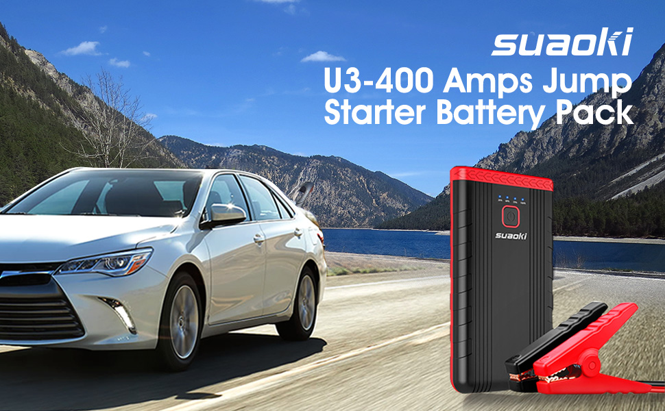 Car Jump Starter, SUAOKI U3 400A Peak 8000mAh 12V Auto Battery Booster and Portable Phone Charger with Built-in LED Flashlight for Gasoline Engines up ...