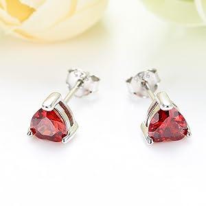 6mm red heart stud earring S925