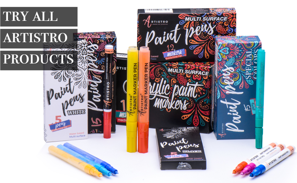 Paint pens for Rock Painting, Stone, Ceramic, Glass, Wood Acrylic Paint Markers Extra-Fine Tip pens