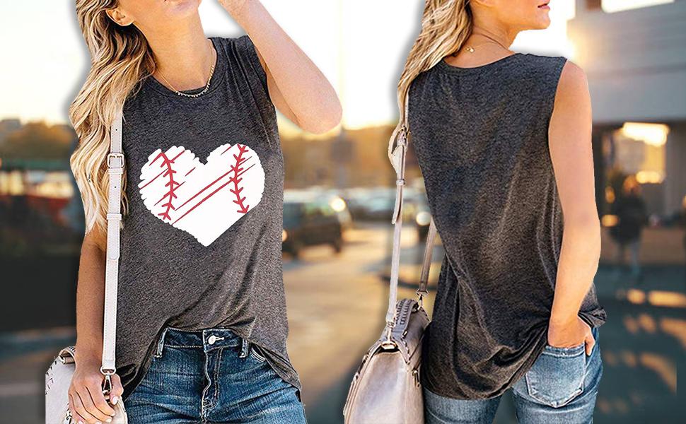 TAOHONG Heart Print Baseball Tank Top Women Cute Baseball Graphic Casual Summer Sleeveless Shirt Vest Top