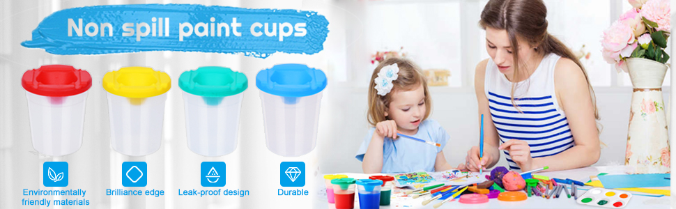 Spill Proof Paint Cups for Kids