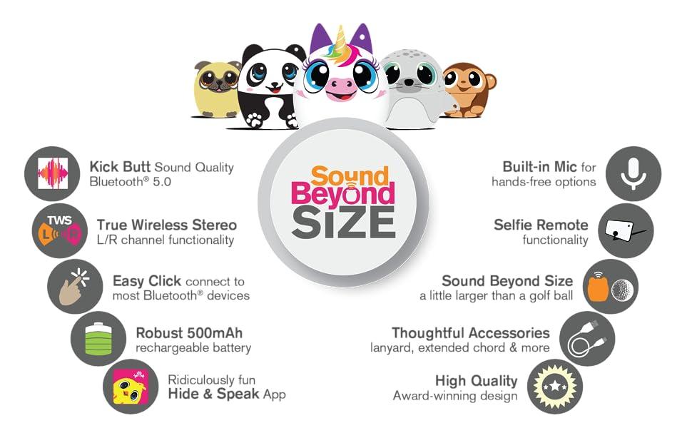 wireless animal speaker, my audio pet, unicorn, panda, pug, seal, monkey, sound beyond size