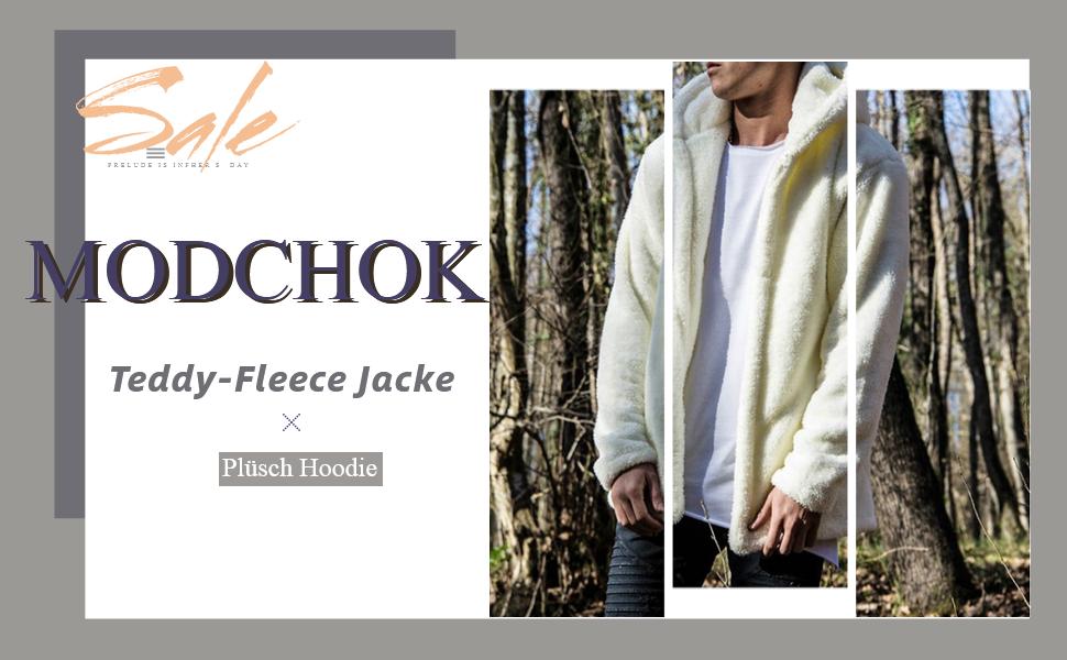 Herren Hoodie Fuzzy mit Hoodie Kapuzenpollover Sweatshirt Teddy Fleece Warm MODCHOK Outwear Plüsch Mantel Jacke Taschen fgy7Yb6