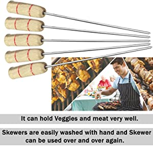 barbeque grill skewers bbq skewers bbq sticks steel wooden handle skewers