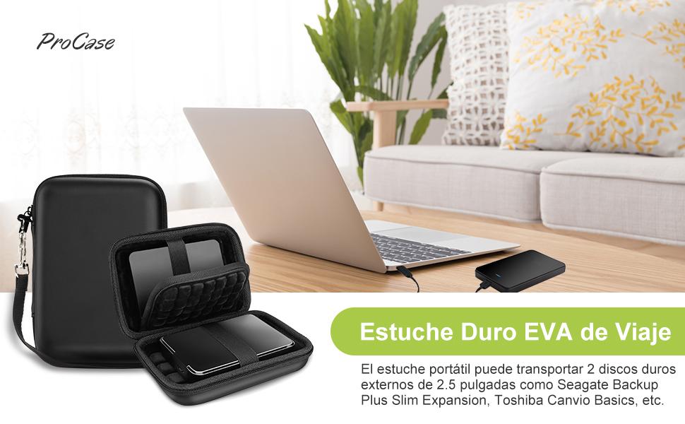 ProCase Estuche Universal para 2 uds. Disco Duro Externo 2,5