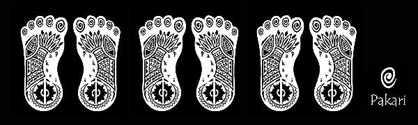 Pakari footprint logos repeated on black background