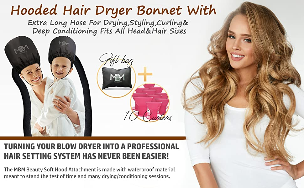 Amazon Com Bonnet Hair Dryer Attachment W 10 Silicone Hair Curlers Extra Large Adjustable Soft Hooded Hair Dryer Bonnet With Extra Long Hose For Drying Styling Curling Deep Conditioning Fits All Head Hair Sizes Beauty